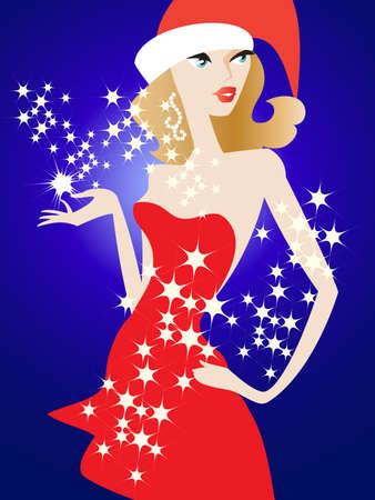 Glamour girl in a red dress with a blue background Illustration