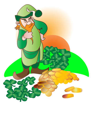 St. Patrick  Day Leprechaun and his gold Stock Vector - 14862763