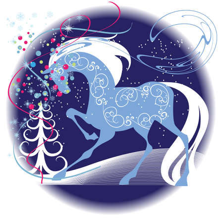running: Blue silhouette of a thoroughbred racehorse on a decorative  background