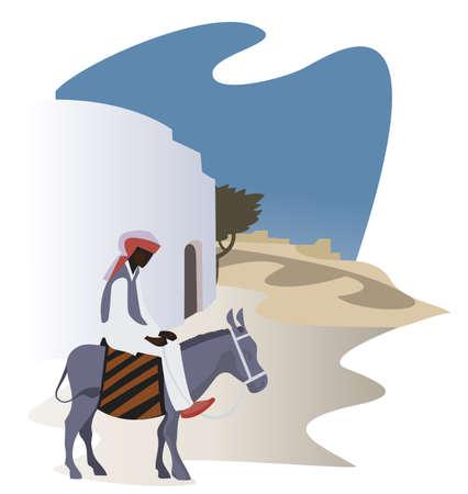 narrow street: Man on a donkey on the narrow street of the ancient eastern  city
