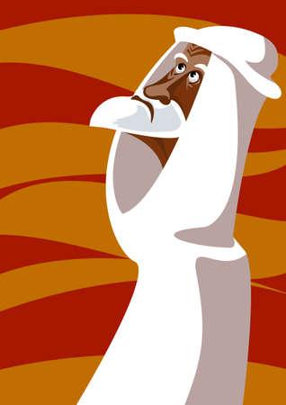 Portrait of the old Bedouin in the desert  Illustration
