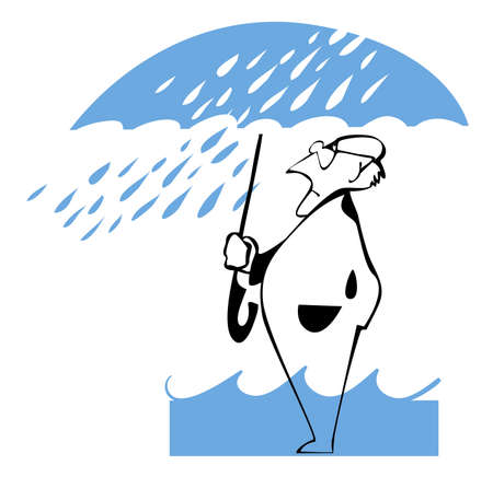 A man hiding under the umbrella of a strong wind and rain Vector