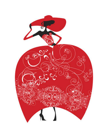 Lady in a hat and a red evening gown, adorned with lace Vector