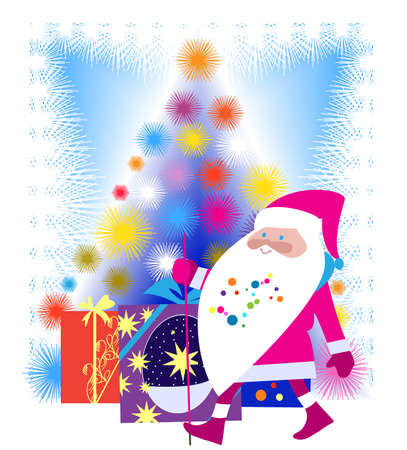Jolly Santa Claus and Christmas tree shining ornate Stock Vector - 14859928
