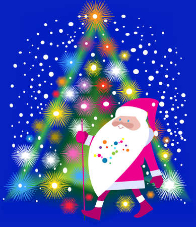 snowing: Jolly Santa Claus and Christmas tree shining ornate Illustration
