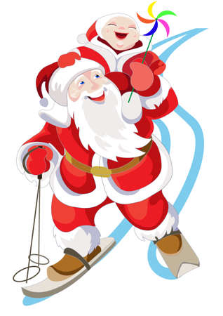 Jolly Santa Claus bears a laughing child on his shoulders Vector
