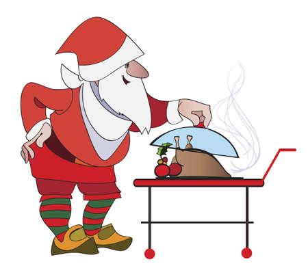 comida de navidad: Papá levanta la tapa en el plato con un pavo festivo de Navidad para la cena