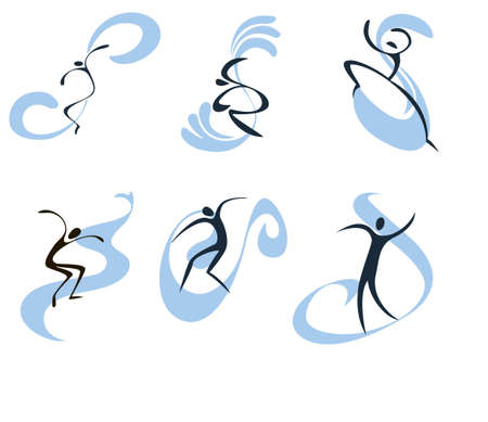 sport logo: Concise set of symbolic images of surfers