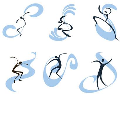 deportes nauticos: Conjunto conciso de las im�genes simb�licas de los surfistas