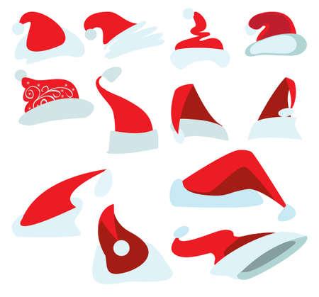 Twelve drawings of red Christmas hats for Santa