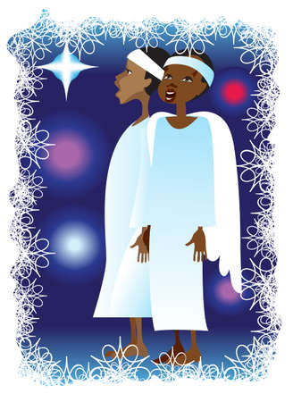 Two African boys in white carnival clothing sing Christmas  songs