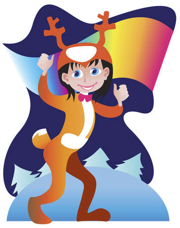 A little boy dressed in a suit of reindeer for the Christmas Carnival Stock Vector - 14862729