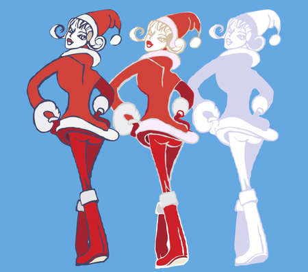 Three girls dancing in the costumes of Snow Maidens Vector