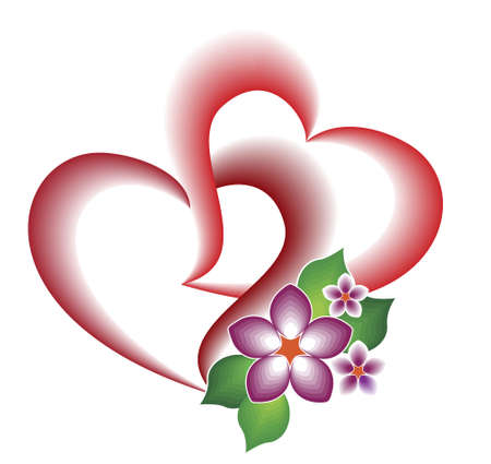 A decorative element of the two intertwined hearts and flowers for  the cards to the Day of the Holy Valdentina