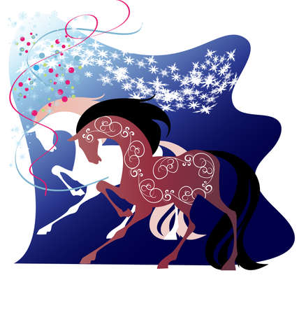 Two running horses, wild mustang, vector illustration Illustration