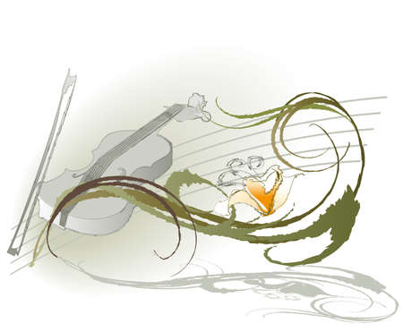 violin and flowers on a light background of decorative Vector
