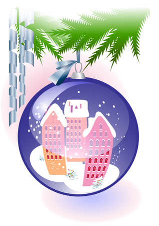 The image of the urban landscape of winter on the surface of the Christmas ball Stock Vector - 14862773