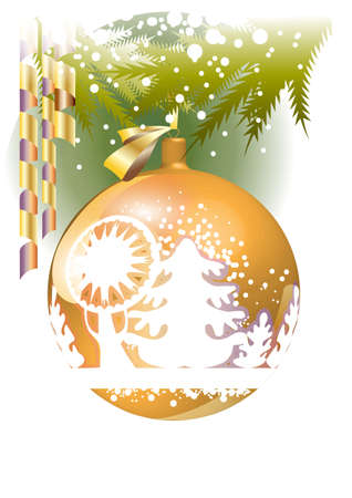 The image of the winter forest on the surface of the Christmas ball Stock Vector - 14862785