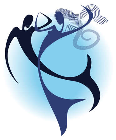 Stylized silhouette of two fantasy mermaids, dancing under water Illustration