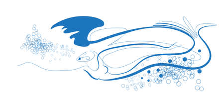 character image elements of water in the form of a woman - a  mermaid, a fast-swimming Vector