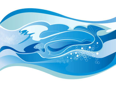 Elements of water in the form of a woman - a mermaid, a fast-swimming Illustration