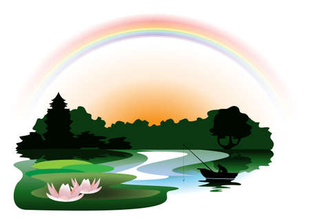 horizon over water: In the evening after the rain hanging a rainbow above the quiet  lake in the woods  Illustration