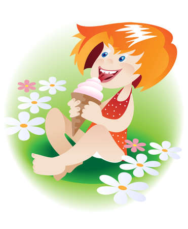 eating ice cream: Little red-haired girl sitting on the grass among the flowers and eating ice cream horn Illustration