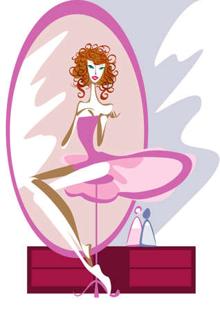 Ballet dancer sits before a large mirror in the dressing room Vector