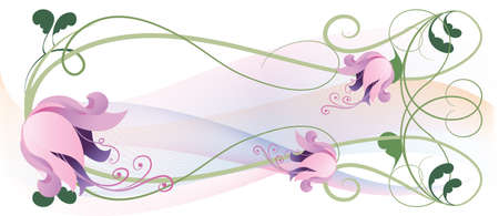 Vintage garland of pink lilies on a light background