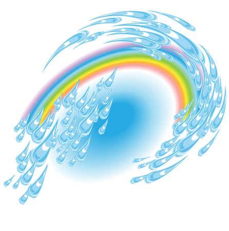 Summer driving rain against the backdrop of a rainbow Vector