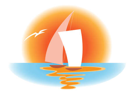 setting sun: sailboat against a background of two huge setting sun Illustration
