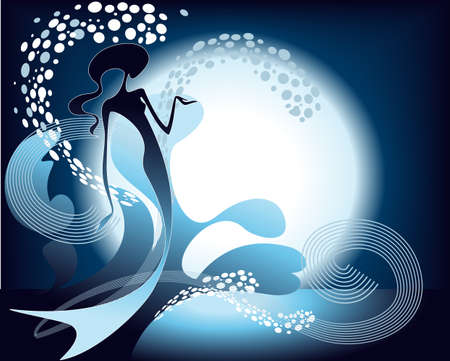 Mermaid silhouette, playing in the clear stream of water against the background of the Moon