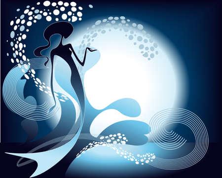 position d amour: Silhouette de sir�ne, jouant dans le ruisseau d'eau claire dans le contexte de la Lune