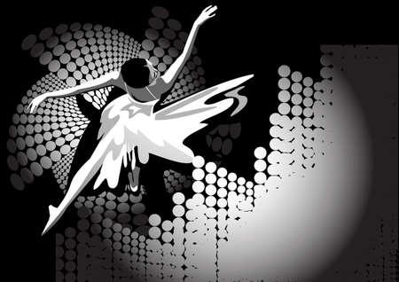 bailarines silueta: La figura de la bailarina en un abstracto negro y blanco de fondo