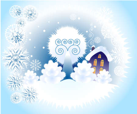 This is a blue background with the symbol of winter Illustration