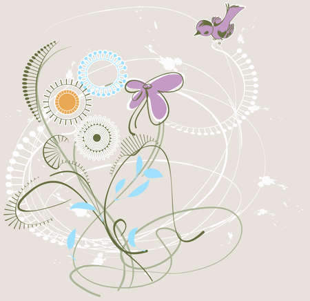 spring bed: Stylized image of wild flowers and a small bird on a light background