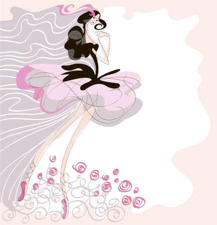 A dancer, dressed in a tutu is shown in motion on a pink background Illustration