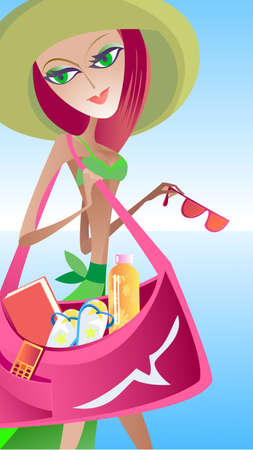 Very beautiful girl goes to the bank with a large beach bag in her hand Vector