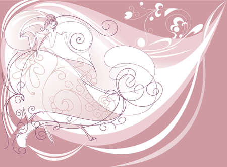 Bride dancing  drawn by lines on a pink background Illustration