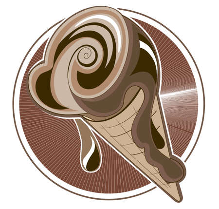 Chocolate ice cream - a cone on a decorative background Illustration