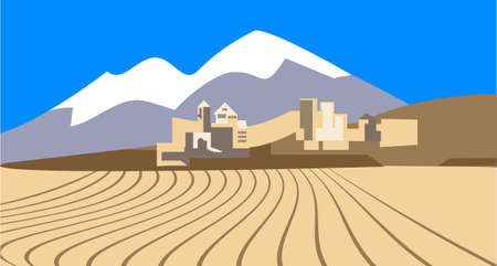 Desert landscape with the   the old eastern city on the horizon