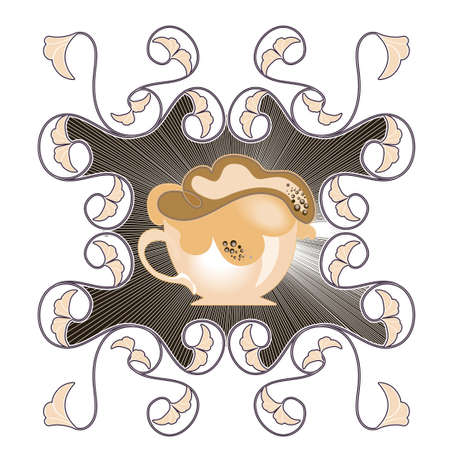 a cup of hot chocolate on a decorative background Vector