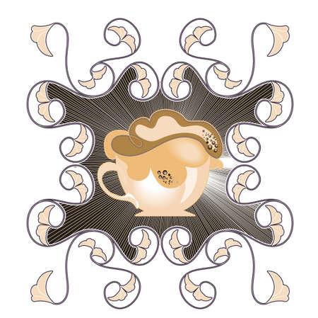 chocolat chaud: une tasse de chocolat chaud sur un fond d�coratif