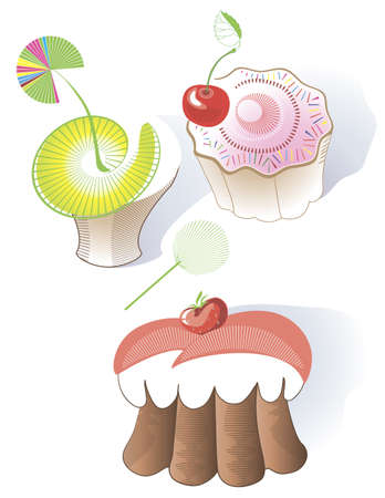 A set of different kinds of cakes and muffins Vector