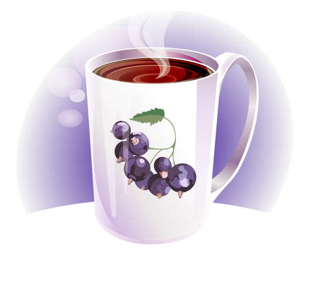 hot blackcurrant tea in white porcelain cup with a light background Vector