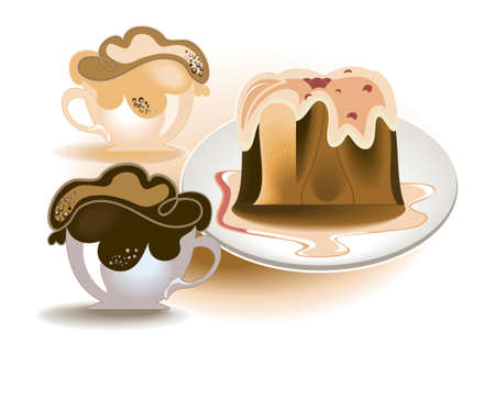 Cake with chocolate icing and two cups of coffee with whipped cream Vector