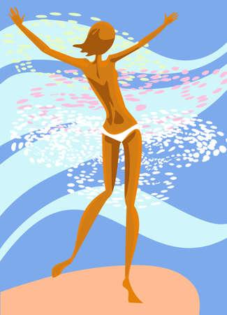 harmonous: The harmonous girl enters into the sea water