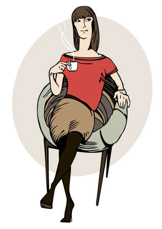 Graphic portrait of a young girl who is sitting in a chair with a cup of coffee in her hand on  a white background Vector