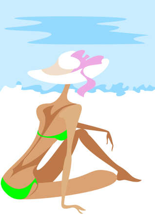 sun tanning: A slender girl in a green bikini sitting on the sand, backs to the audience, on the beach