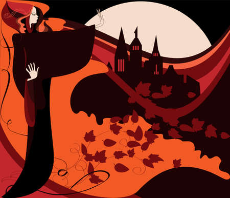 A young witch at midnight on the background of an ancient castle and a full moon Stock Vector - 14862839